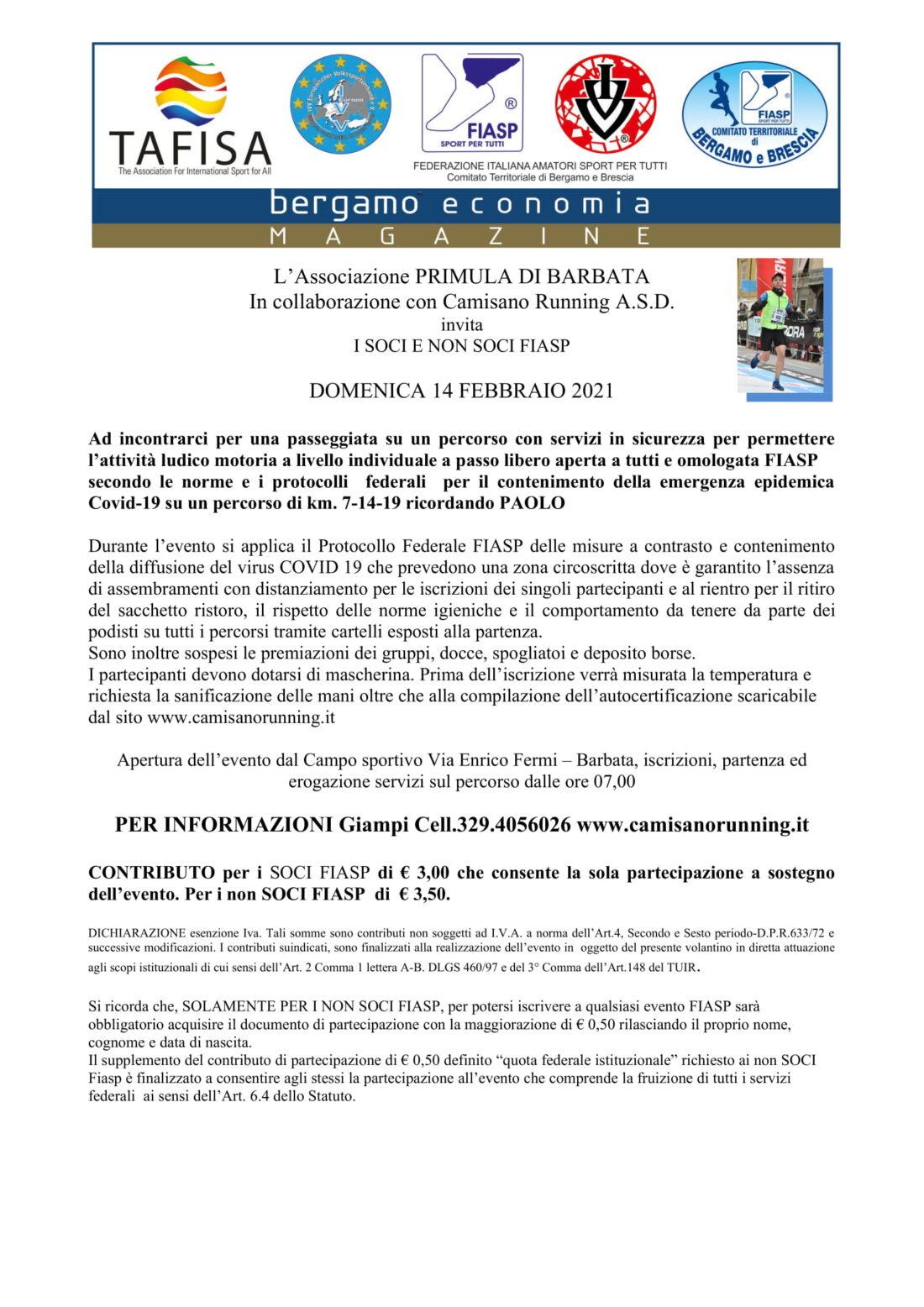 "14° marcia ""Barbada Fest, al Pass, al Trot, al Fresc. memorial"